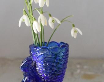 Vintage Rabbit Egg Cup Easter Bunny Basket Blue Glass Royal Embassy