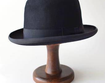 Vintage Black Bowler Derby Mens Hat Mallory Crevenette 7 1/2