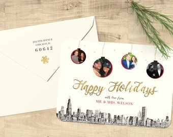 "Ornaments City Skyline Photo Happy Holidays flat cards; ""Ornaments Holiday"" set of 25 with matching envelopes and return address printing"