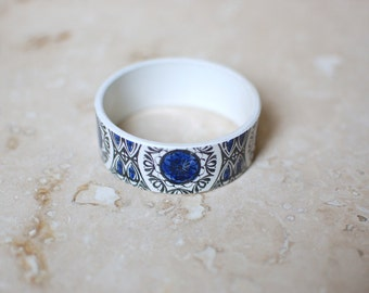 StayGoldMaryRose - Beautiful blue and black 70's pattern china stacking bangle.