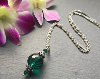 Emerald Green Necklace - Green Swarovski Necklace - Sterling Silver Necklace - Gift for Her - Vintage Swarovski Crystal Necklace