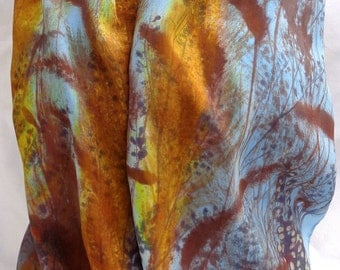silk scarf hand painted Winter Weeds luxury crepe large long unique wearable art women hand made fashion