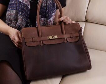 Color Block Brown Leather Bag Leather Handbag Leather Cross-body Purse Leather Tote Leather Messenger Bag Laptop Bag, Bag, Womens bag Ilita