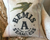 Grain Sack Pillow Cover  Bemis Blue Bird by Gathered Comforts