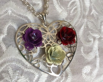 Silver Filigree Heart Necklace with Enamel Roses, Filigree Heart Necklace, Filigree Statement Necklace, Enamel Rose Necklace, Enamel Rose
