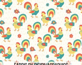 Spring Roosters Fabric By The Yard - Chicken Rooster Country Quilting Print in Yards & Fat Quarter