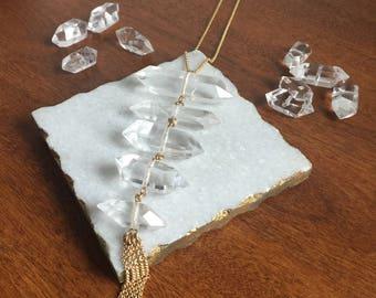 Rock Crystal Drop Necklace // rock crystal necklace, quartz crystal necklace, quartz necklace, bohemian necklace, tassel necklace, geometric