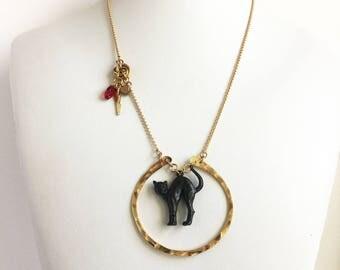 Black Cat Hammered Necklace // hammered brass necklace, black cat necklace, kitty necklace, cattitude necklace, cat charm necklace, cat lady