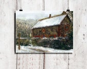 Original Watercolor Painting Impressionist Art Hygge Interior Winter Art House In Winter Snow England Stone Cottage COZY HOME