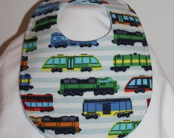 High Speed Trains Flannel / Terry Cloth Bib