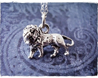 Silver Lion Necklace - Sterling Silver Lion Charm on a Delicate Sterling Silver Cable Chain or Charm Only