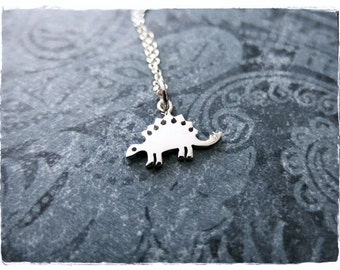 Tiny Stegosaurus Necklace - Sterling Silver Stegosaurus Charm on a Delicate Sterling Silver Cable Chain or Charm Only