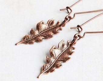 Copper Leaf Earrings, Rustic Oak Leaf Earrings on Antiqued Copper Plated Wires, Small Leaf Dangle Earrings, Fall Earrings, Autumn Jewelry