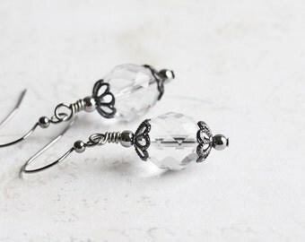 Clear Faceted Glass Dangle Earrings on Gunmetal Black Hooks, Everyday Jewelry