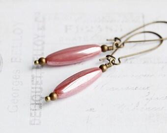 Pink Dangle Earrings, Rose Pink Earrings on Antiqued Brass Hooks, Long Bead Earrings, Pretty Pink Dangles, Casual Jewelry