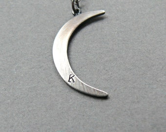 Custom Initial Sterling Silver Moon Necklace, Moon Necklace, Personalized Necklace, Crescent Moon Necklace, Moon Necklace Silver