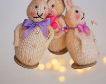 Trio of  Vintage Inspired  Bunny Ornaments