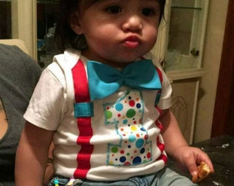 1st birthday boy outfit, bow tie and suspenders, first birthday outfit boys, circus birthday, clown birthday, cake smash boy