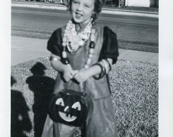 Little Girl In HALLOWEEN COSTUME With Jack-O-Lantern Pail For Her Treats Photo Circa 1950s