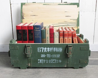 Vintage Chinese Military Hand Grenade Crate, Wooden Box, Ammo Box