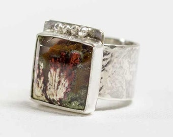 Red Moss Agate Ring Wide Band in Sterling Silver Handcrafted Size 7