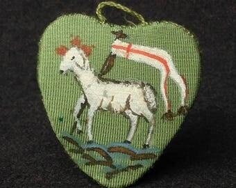 Agnus Dei. Antique pilgrimage souvenir. Vintage religious Mystical Lamb pendant relics.