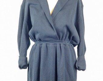 Vintage 80s Navy Blue Knit Bloomingdales Beekman Dress Size Large Made in Italy