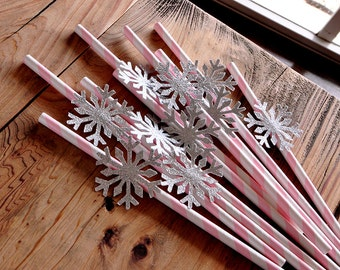 Pink and Silver Party Decorations. Snowflake Straws 10CT. Winter Onederland Birthday.