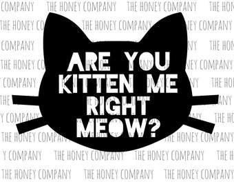Are you Kitten Me Right Meow Funny PNG SVG DXF Instant Download Silhouette Cricut Cutting Machine File