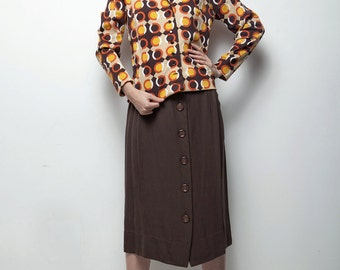 70s op art skirt blouse top set brown orange geometric dot long sleeve MEDIUM M