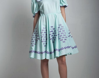 vintage patio dress rockabilly square dance mint green blue purple dress basket weave puff doll sleeve MEDIUM LARGE M L