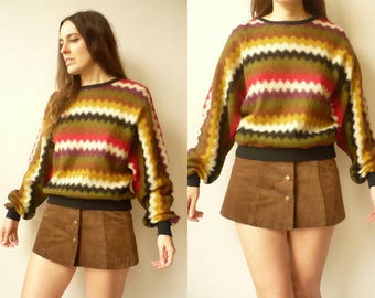 Vintage 1980's Bohemian Zig Zag Pattern Knitted Batwing Slouchy Jumper