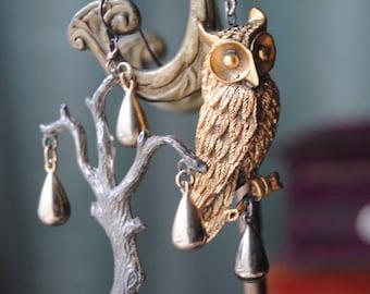 The Old Willow--Vintage Owl Brooch Silver Tree Tassel Drop Rhinestone ASYMMETRICAL EARRINGS