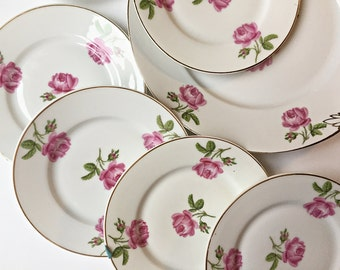 7 Pc Vintage China Dessert Plate Set Shabby Chic Pink Floral China Cake Plate Porcelain Cake Plate Set Pink Cabbage Roses