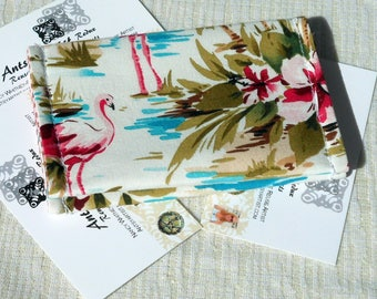 Flamingo ID wallet gift card holder business card case reuse vegan cotton tropical print palm trees flowers and pink flamingos on white