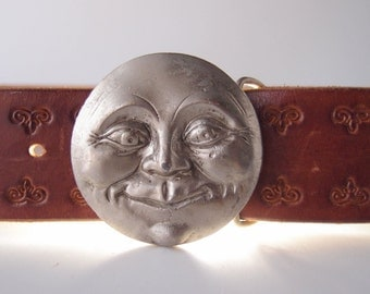 1970s Man in the Moon pewter buckle great detail...with or without brown tooled leather belt strap ... fits 29-35