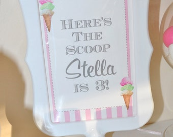 Ice Cream Birthday 4x6 SIGNS, Sweet Shoppe, Vintage Ice Cream Parlour Birthday Party - (4) 4x6 Printed Signs (Frames NOT included)