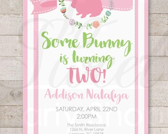 Some Bunny Is One Easter Birthday Invitations - 1st Birthday Party Invitations - Bunny Birthday - Spring Birthday Invitations - Set of 12