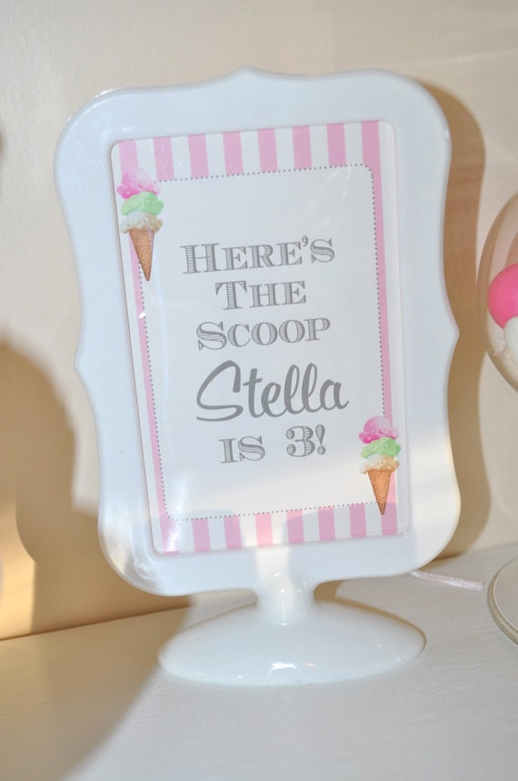 Ice Cream Birthday 4x6 SIGNS, Sweet Shoppe, Vintage Ice Cream ...