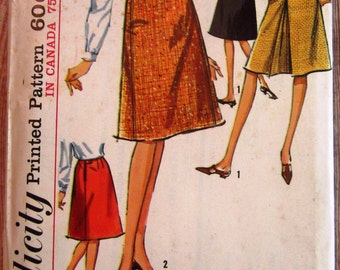 Vintage 1960s Misses Set of Skirts, Dart Fitted A-Line Waist 24 Hip 34 Simplicity Pattern 6091 UNCUT