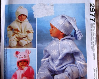 Infants Bunting and Hats Sewing Pattern Sizes S M L XL McCalls Pattern 2977 UNCUT