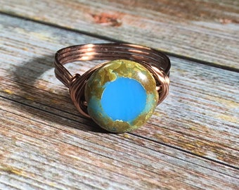 blue Czech Glass , antique copper wire wrap ring - size 6.75 , 6 3/4 - wire wrapped , women ring , men ring  , brown , handmade jewelry