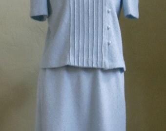"Vintage 70's Leslie Faye Petites Matching Light Blue Boucle Knit Short Sleeved Jacket and Skirt Bust 38"" Waist 29""-34"" (elastic waistband)"
