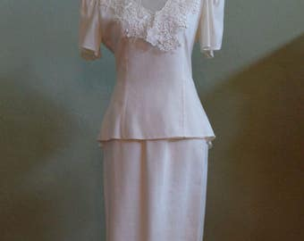 """Vintage 70's - 80's Patra Cream Matching Top and Skirt Sheer Front and Back V-Neckline Edged with Lace Formal Attire Bust 36"""" Waist 29"""""""