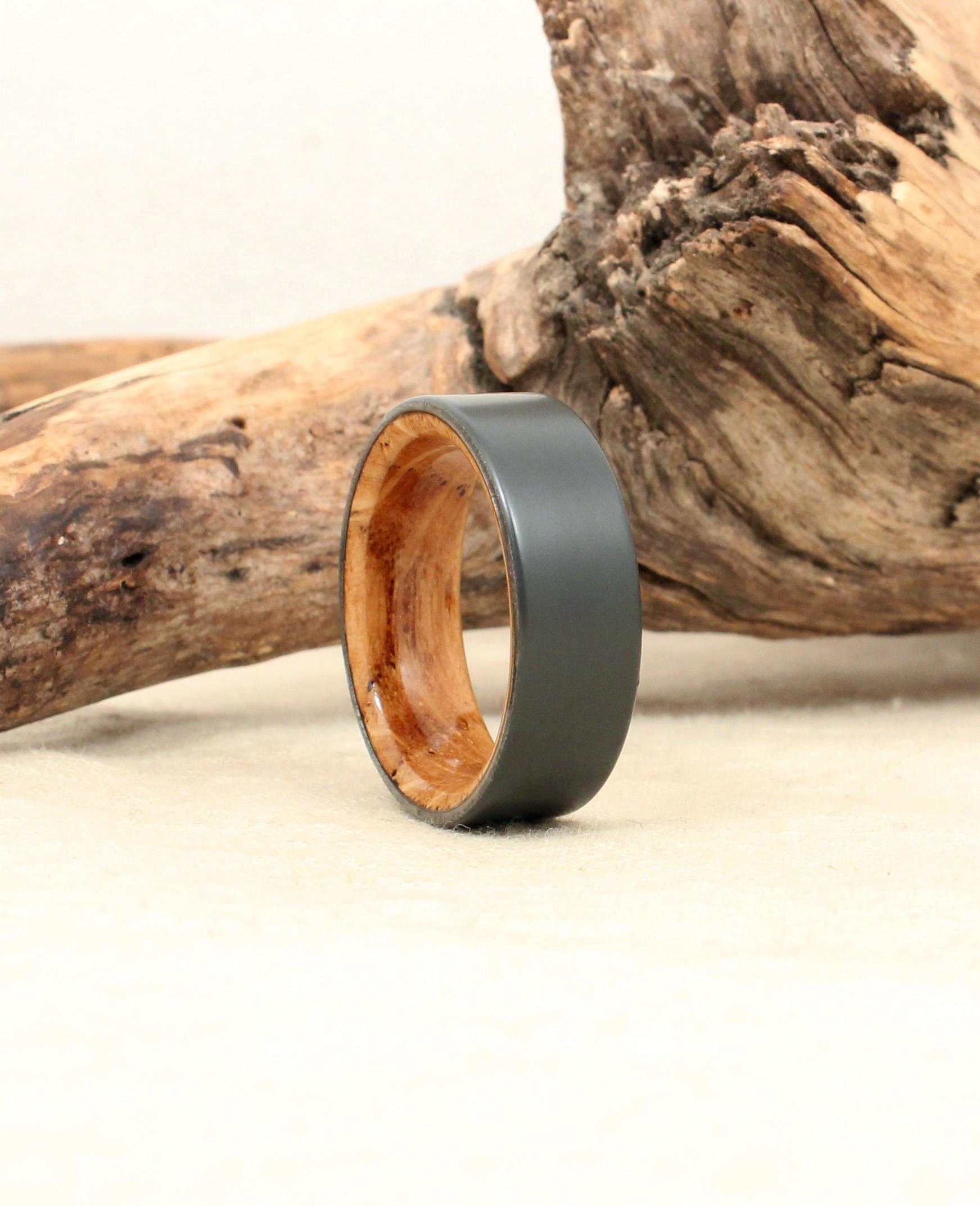 Sandblasted Black Zirconium and Scotch Barrel Wood Ring