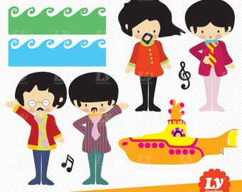 Beatles Clipart, Yellow Submarine Clipart, Beatles, Yellow Submarine, Beatles Party, Beatles Instant Download, Beatles Illustration