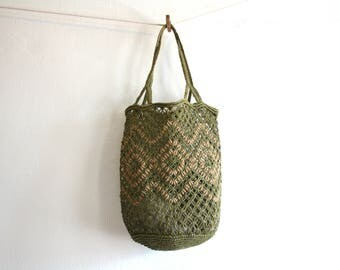 SALE Green Sisal Tote Bag