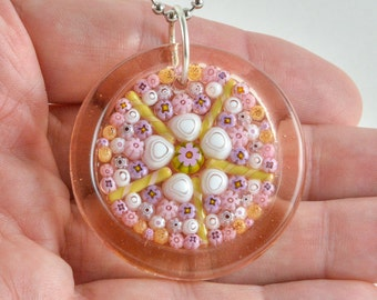 Steph Glass Pink Millefiori Mosaic Pendant, Fused Glass Necklace, StephGlass Original Art