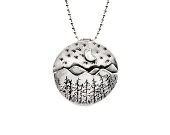 Sterling Mountain Jewelry, Nature Jewelry Gift For Mom, Silver Forest Necklace, Sterling Nature Jewelry, Pendant, Robin Wade Jewelry, 2438