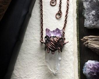 Grupo amatista y cuarzo lemuriano punto collar | Electroformada cobre joyas | Pesada bruja pagana colgante | Amuleto de metafísica